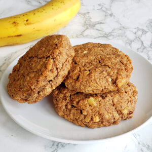 Roasted Banana Almond Butter Breakfast Cookies