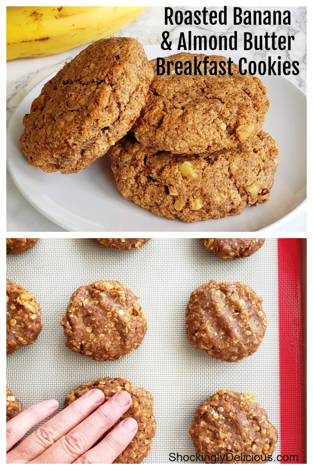 Photo collage for Roasted Banana Almond Butter Breakfast Cookies vegan recipe on ShockinglyDelicious.com