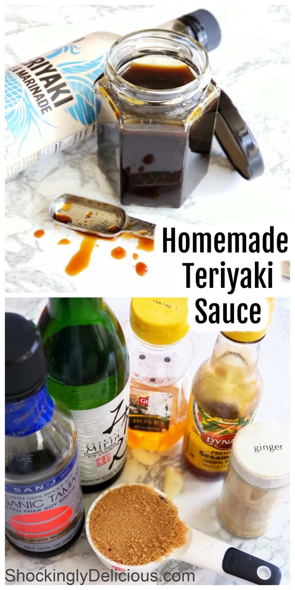 Photo collage of ingredients for Homemade Teriyaki Sauce and finished product in a glass jar on white counteriyaki Sauce