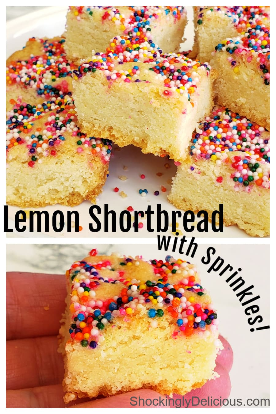 Photo collage of Lemon Shortbread with Sprinkles on ShockinglyDelicious.com