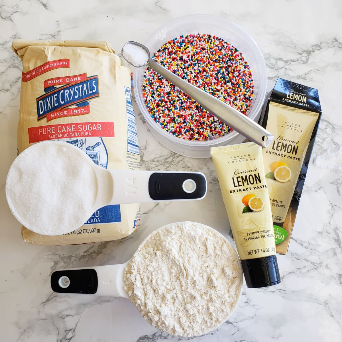 Ingredients for Lemon Shortbread Cookies with Sprinkles on ShockinglyDelicious.com