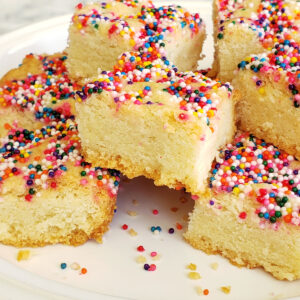 Lemon Shortbread with Sprinkles on ShockinglyDelicious.com