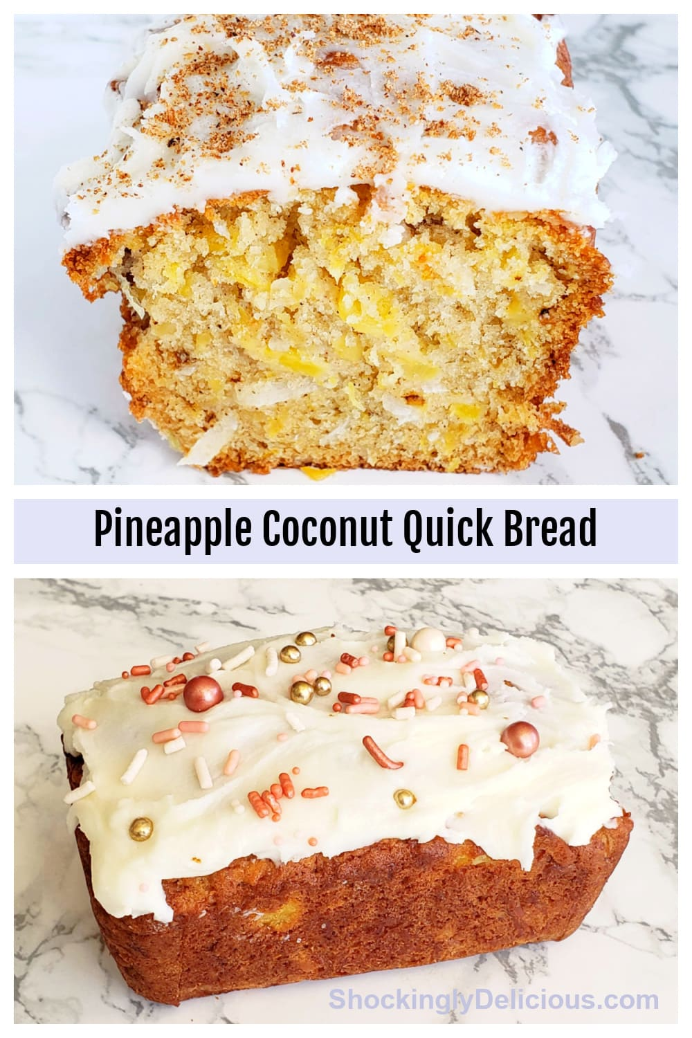 Pineapple Coconut Quick Bread collage of 2 photos