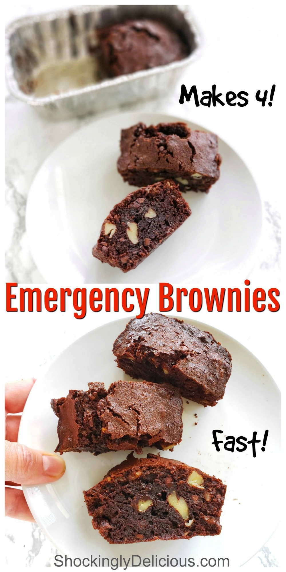 2 brownies on a white plate and 3 brownies on a white plate with a hand holding the plate with type overlaid